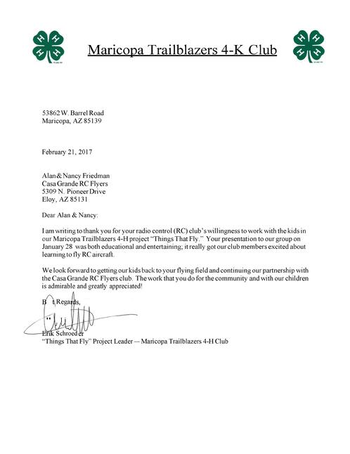 Thank You Letter From The 4H Club
