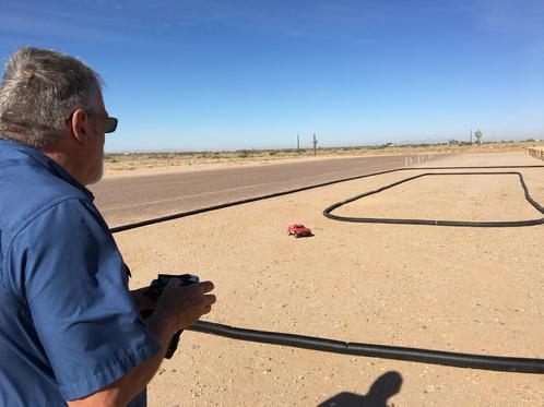 Club officer, Ron St. Pierre, tries out our new RC Car track.
