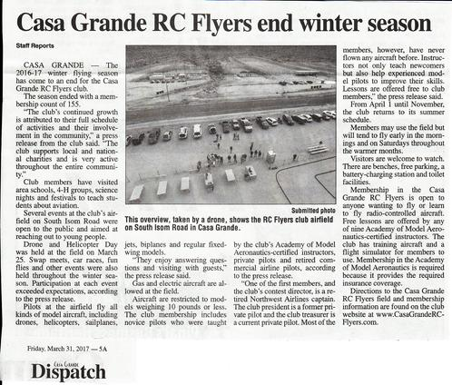 March 31, 2017 Casa Grande Dispatch Story